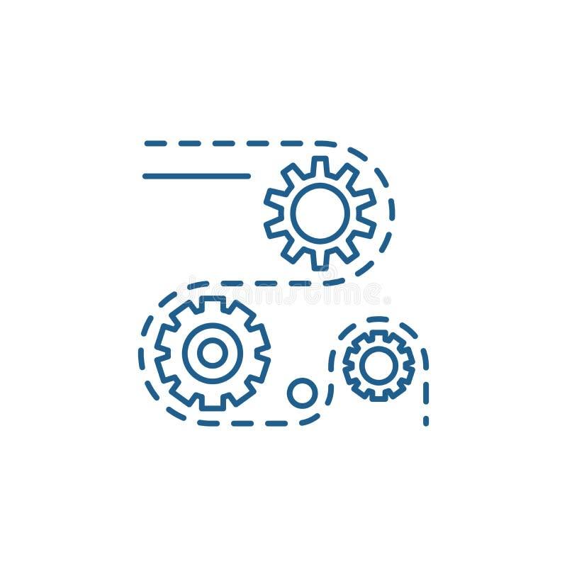Tillverkningsprocesslinje symbolsbegrepp Symbol för vektor för tillverkningsprocessar plant, tecken, översiktsillustration stock illustrationer