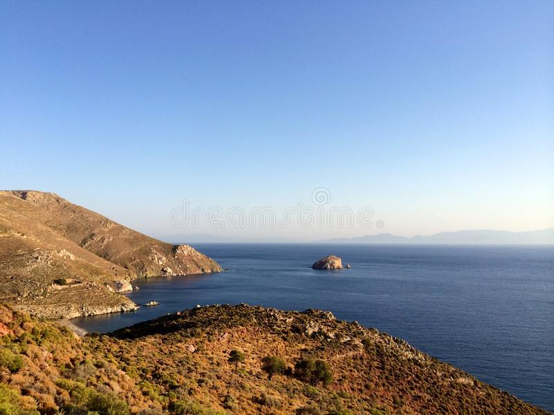Tilos-Insel, Griechenland, Panoramablick von Tilos-Insel lizenzfreies stockfoto