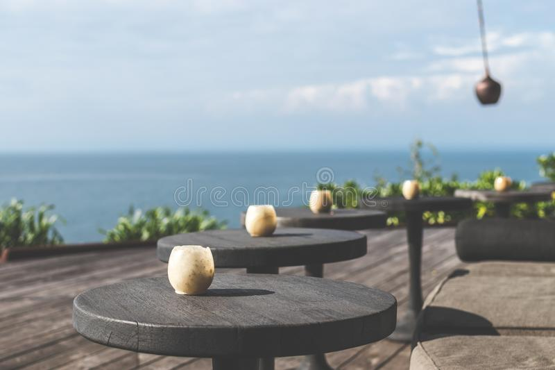 Tilt Lens Photography of Black Wooden Table royalty free stock images