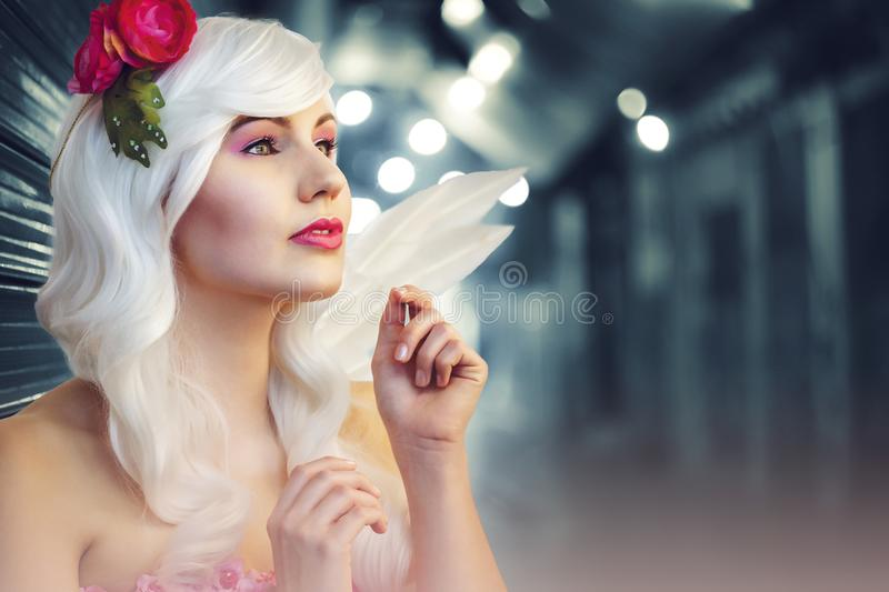 Tilt Lens Photography of Woman With Flower Headband stock image