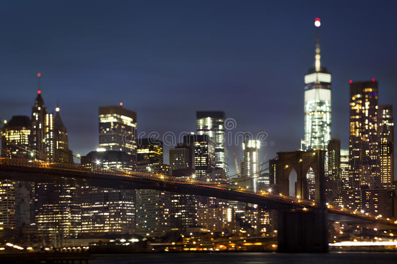 Tilt shift Brooklyn bridge at night stock photos