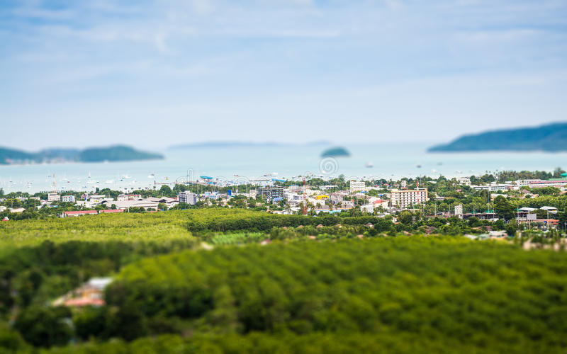 Tilt shift of chalong bay view from mountain stock image