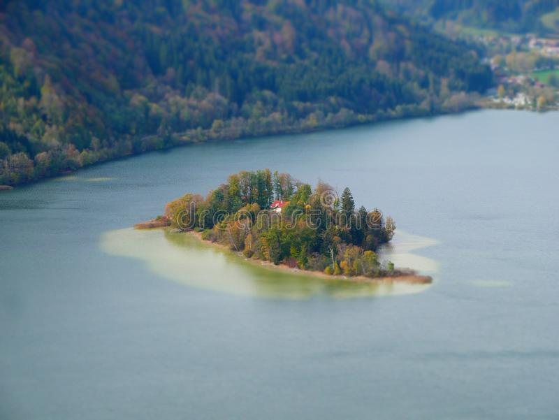 Tilt shift image of the island in lake stock photos