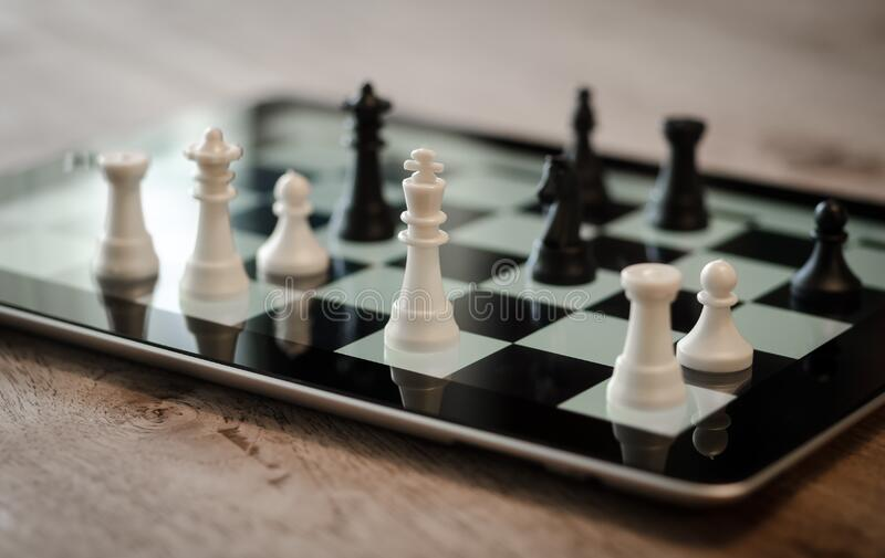 Tilt Shift Lens Photo of Black and White Chess Pieces stock photography