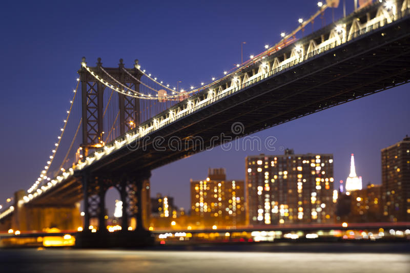 Tilt Shift Manhattan Bridge view stock photos