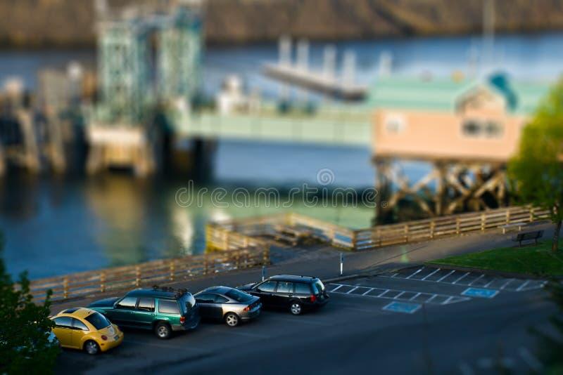 Tilt Shift Parking. Waterfront parking in tilt shift stock photos