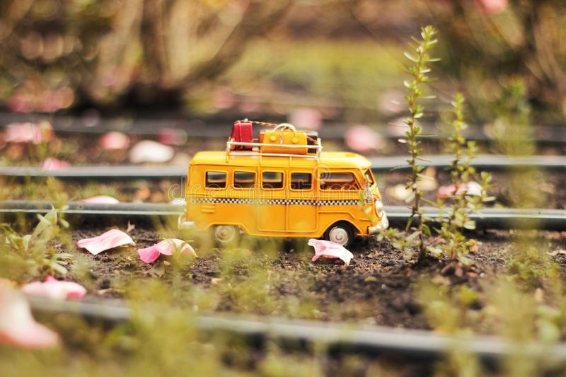 Tilt Shift and Selective Color Photo of White Van Miniature royalty free stock photo