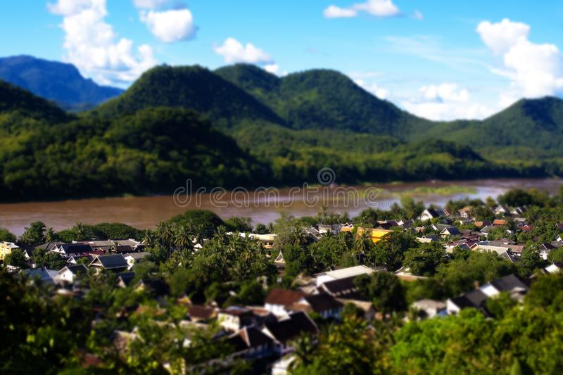 Tilt-Shift Style. Luang Prabang above view, Laos, Tilt-Shift Style stock photos