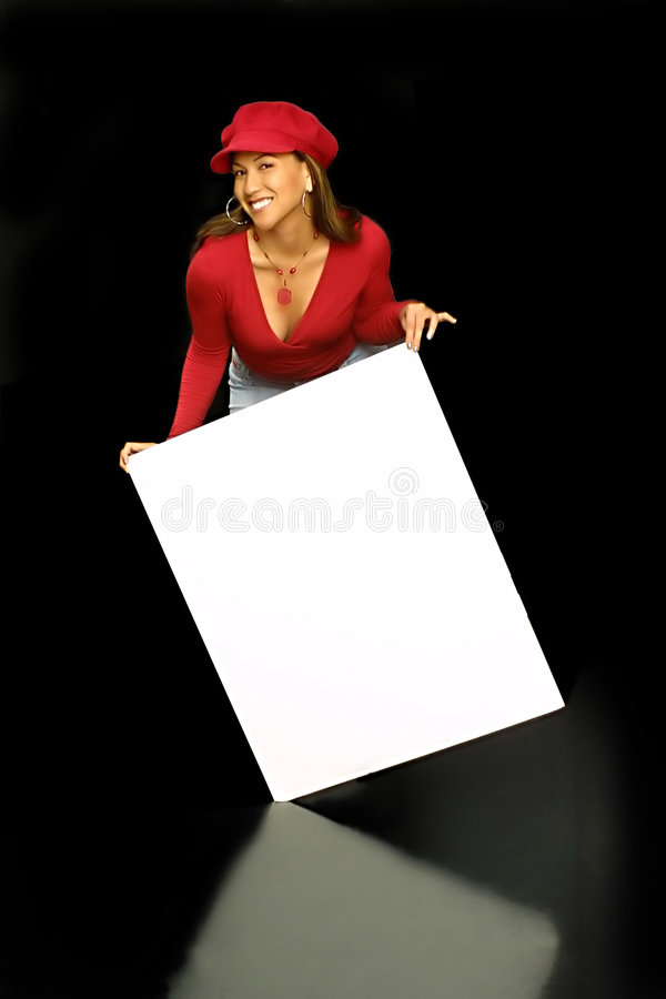 Tilt on sign girl royalty free stock photo