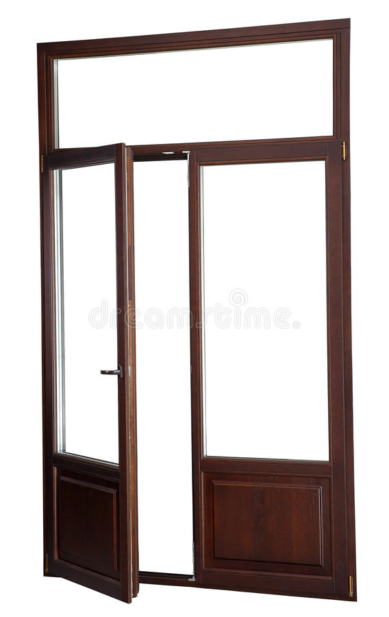 Tilt and Turn Door, color dark mahogany. Isolated on white. stock photography