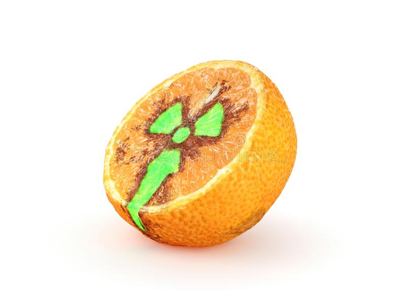 Tilted half of tangerine with a glowing radioactive sign stock illustration