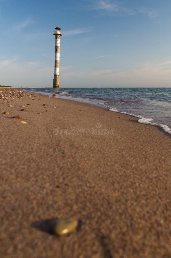 Tilted Kiipsaare lighthouse from beach surface view. Saaremaa island, Estonia stock images