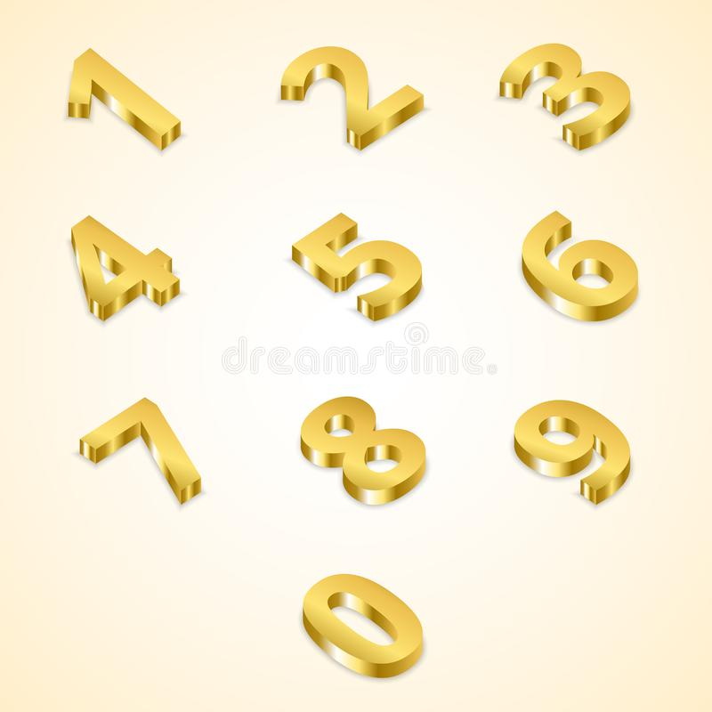 Number gold 3D style stock illustration
