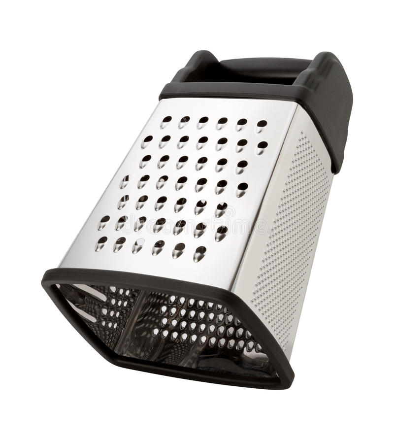 Tilted Stainless Steel Box Grater. Isolated on white with a clipping path. The image is in full focus, front to back royalty free stock images