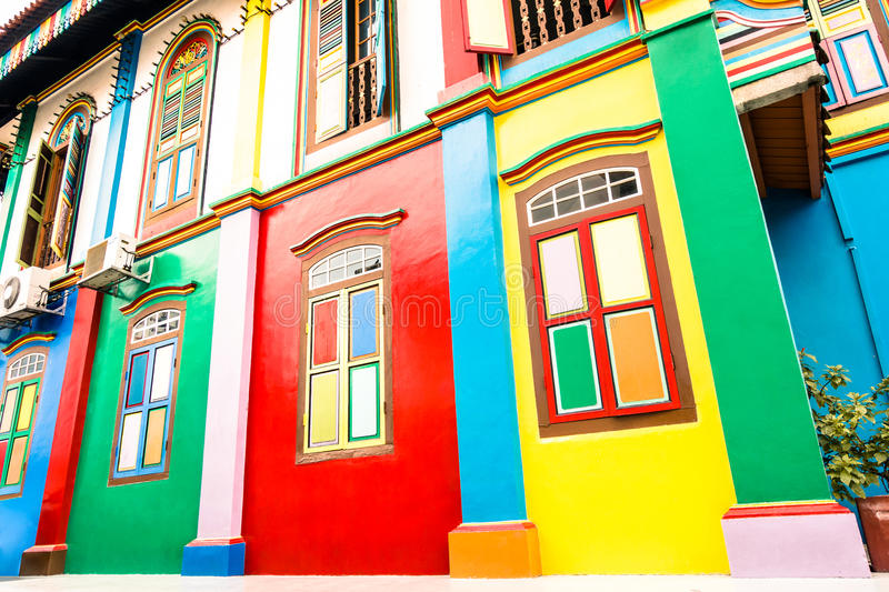Tilted view of colorful houses in Little India of Singapore. Tilted perspective of colorful house facade of ancient traditional buildings in Little India - World stock photography
