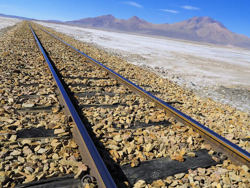 Tilted world: Remote rail line on the altiplano. The rail line from Uyuni in Bolivia to Calama in Chile is passing through very remote and scenic landscape on royalty free stock images