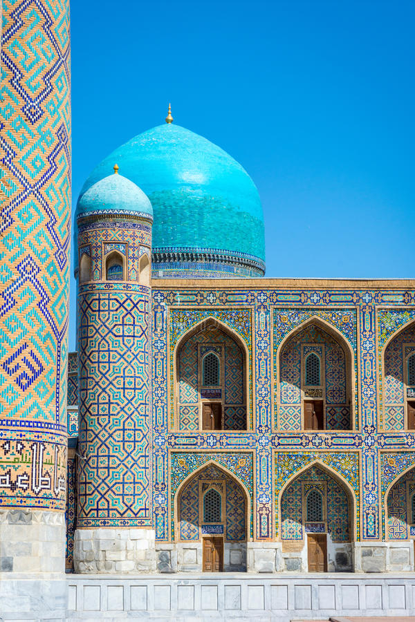 Tilya-Kori Madrasah, Registan, Samarkand stock photo