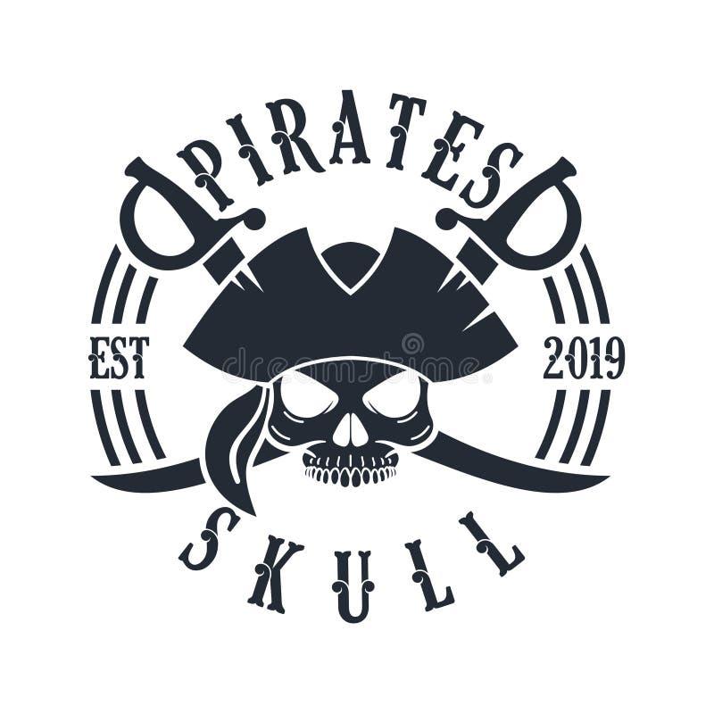 Timón Logo Design Vector Illustration, emblema del cráneo y de la nave del pirata en estilo monocromático del vintage aislado en  stock de ilustración