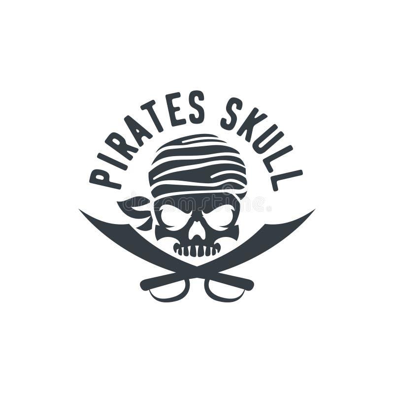 Timón Logo Design Vector Illustration, emblema del cráneo y de la nave del pirata en estilo monocromático del vintage aislado en  ilustración del vector
