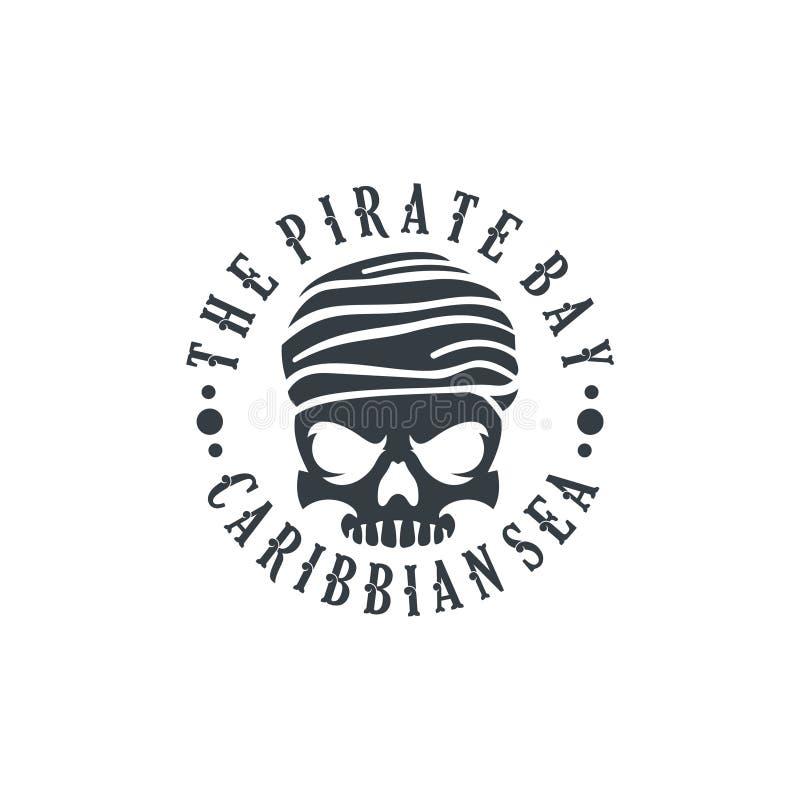 Timón Logo Design Vector Illustration, emblema del cráneo y de la nave del pirata en estilo monocromático del vintage aislado en  libre illustration