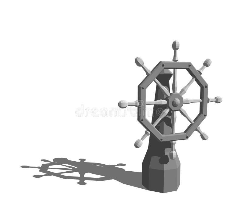 Timón poligonal de la nave Aislado en el fondo blanco representación 3d ilustración del vector