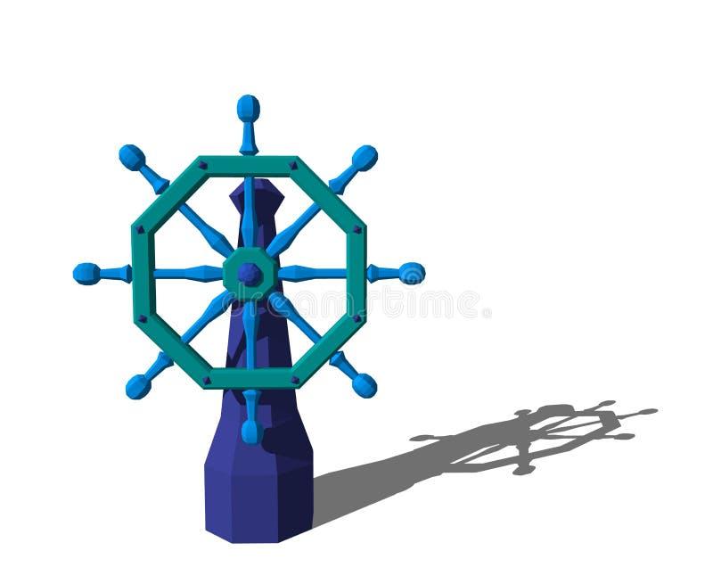Timón poligonal de la nave Aislado en el fondo blanco representación 3d libre illustration