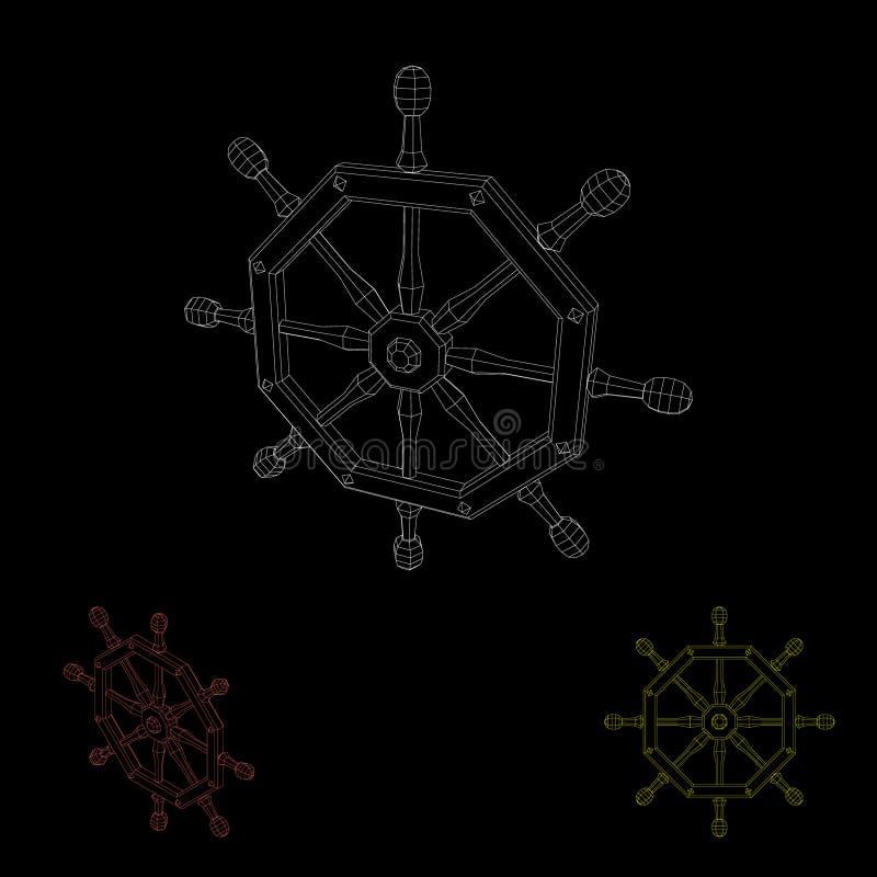 Timón poligonal de la nave Aislado en fondo negro Outlin del vector ilustración del vector