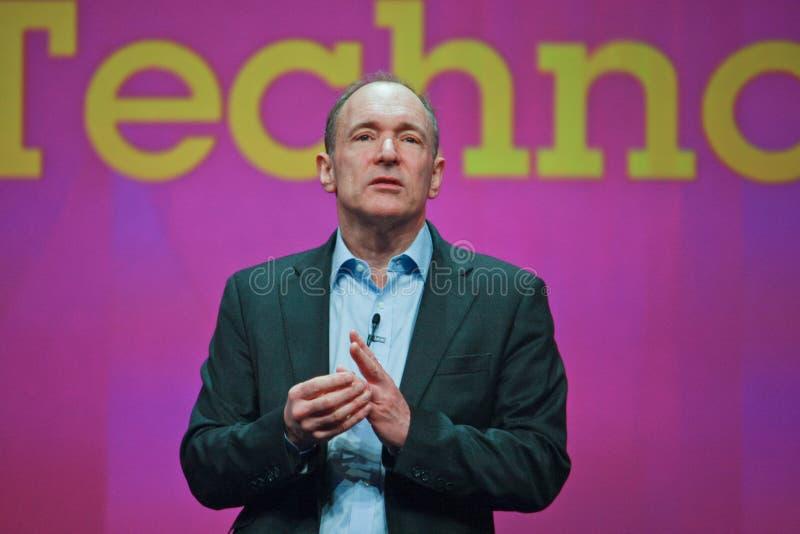 Tim Berners-Lee entrega direccionamiento a IBM Lotusphere foto de archivo libre de regalías