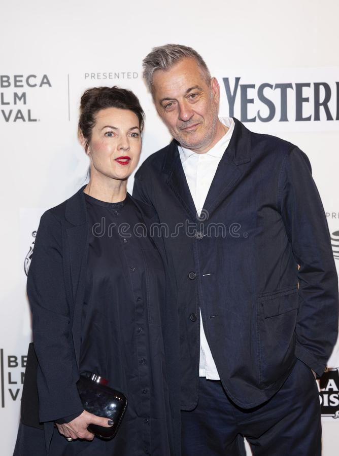 Tim Bevan at World Premiere of `Yesterday` at Closing Night at 2019 Tribeca Film Festival. Tim Bevan and guest arrive at the World Premiere of `Yesterday royalty free stock photos
