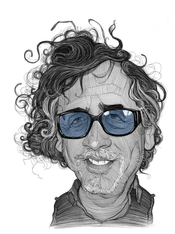 Tim Burton Caricature Sketch royalty free stock images