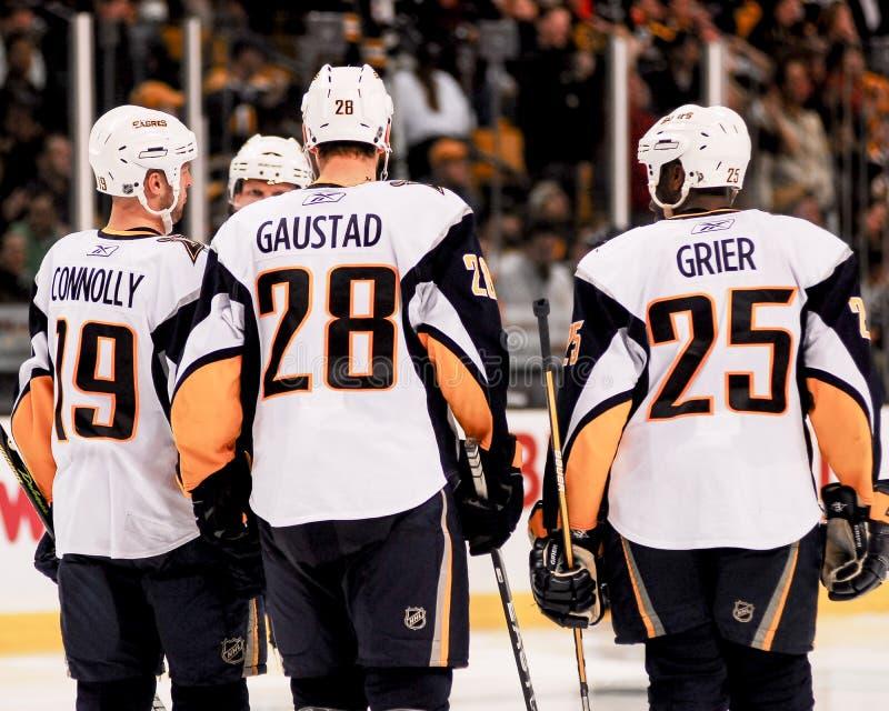 Tim Connolly, Paul Gaustad och Mike Grier, Buffalo Sabres royaltyfri bild