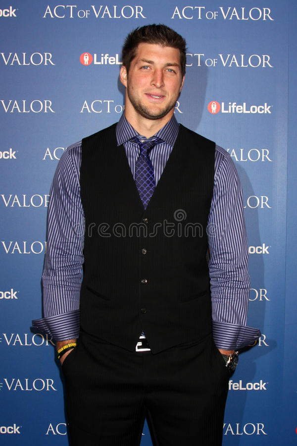 Tim Tebow. LOS ANGELES - FEB 13: Tim Tebow arrives at the Act of Valor LA Premiere at the ArcLight Theaters on February 13, 2012 in Los Angeles, CA stock photo