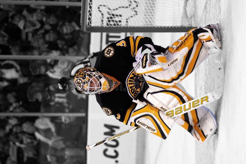 Tim Thomas Boston Bruins. Black and White spotlight version of Boston Bruins Goalie Tim Thomas royalty free stock photography