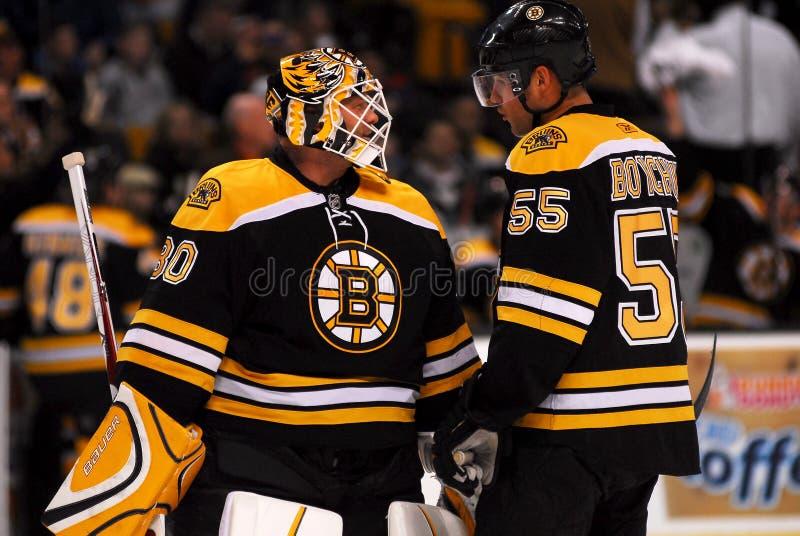 Tim Thomas and Johnny Boychuk Boston Bruins. Boston Bruins goalie Tim Thomas and defenseman Johnny Boychuk stock photo