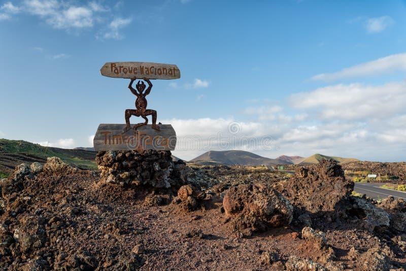 Timanfaya national volcano park devil symbol Lanzarote royalty free stock photography