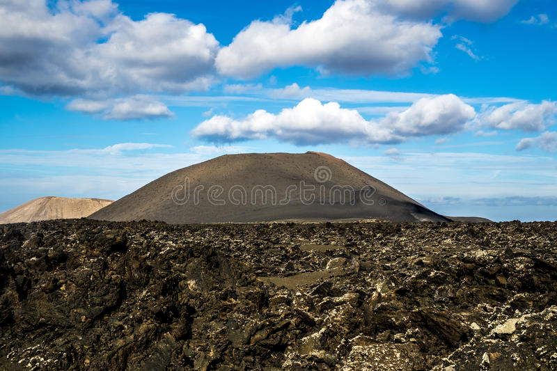 Timanfaya volcanic area in Lanzarote,. Canary Islands, Spain royalty free stock image