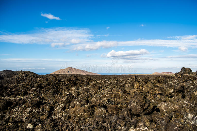 Timanfaya volcanic area in Lanzarote,. Canary Islands, Spain stock images