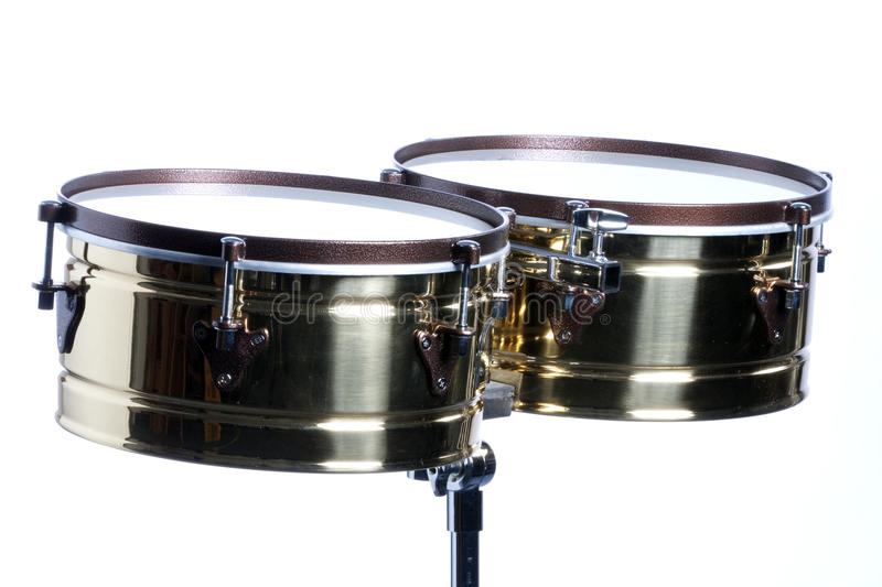 timbales d'isolement blancs photos stock