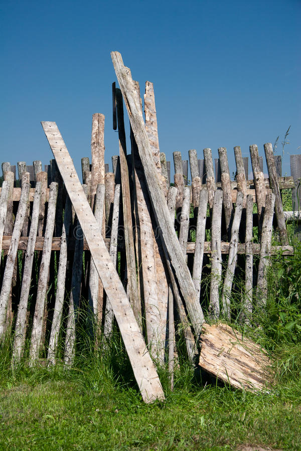 Timber battens. And batten fields of an old garden fence royalty free stock photo