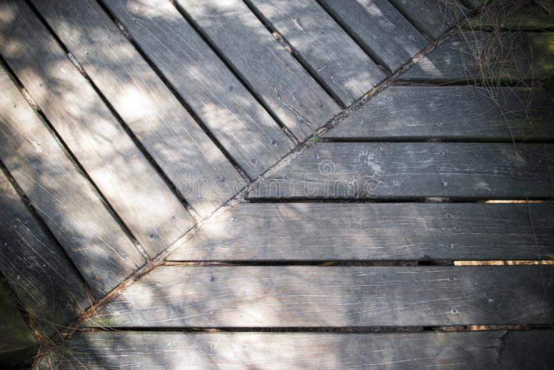 Timber boardwalk background top view stock image