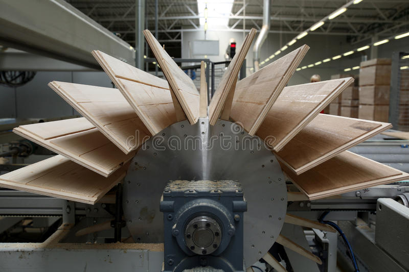Timber Flooring Factory. Production in Modern Timber Flooring Factory royalty free stock photo
