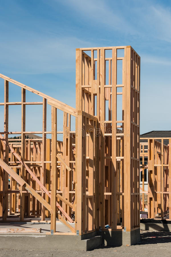 Timber frame of ecological house stock image