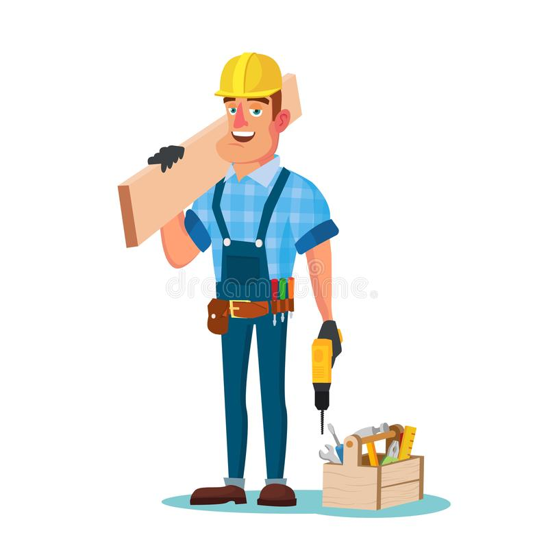 Construction Worker Building Timber Frame Vector. Classic Uniform And Helmet. Wooden Boards. Flat Cartoon Illustration. Timber Frame House Construction Worker vector illustration