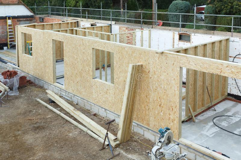 Timber frame house. Extension or annexe under construction in the UK royalty free stock images