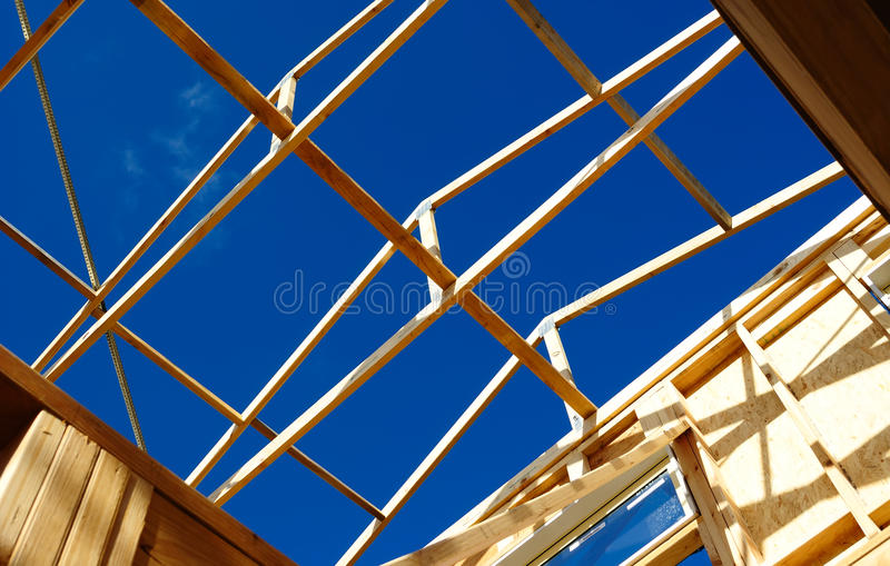 Timber frame roof structure. Timber frame of a house under construction in Melbourne, Australia royalty free stock photography