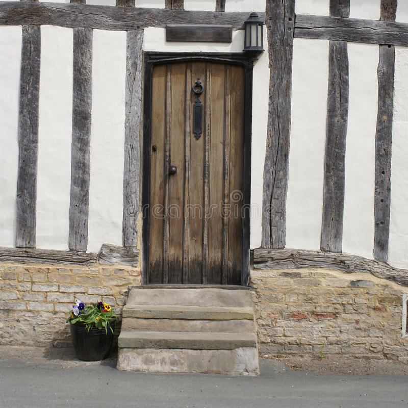Timber-framed house in East Anglia. Door of the timber-framed house in East Anglia stock photo