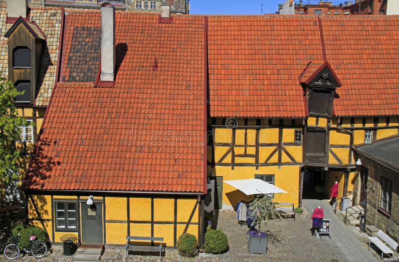 Timber framing building in old town of Malmo, Sweden. Malmo, Sweden - April 22, 2017: timber framing building in old town of Malmo, Sweden royalty free stock images