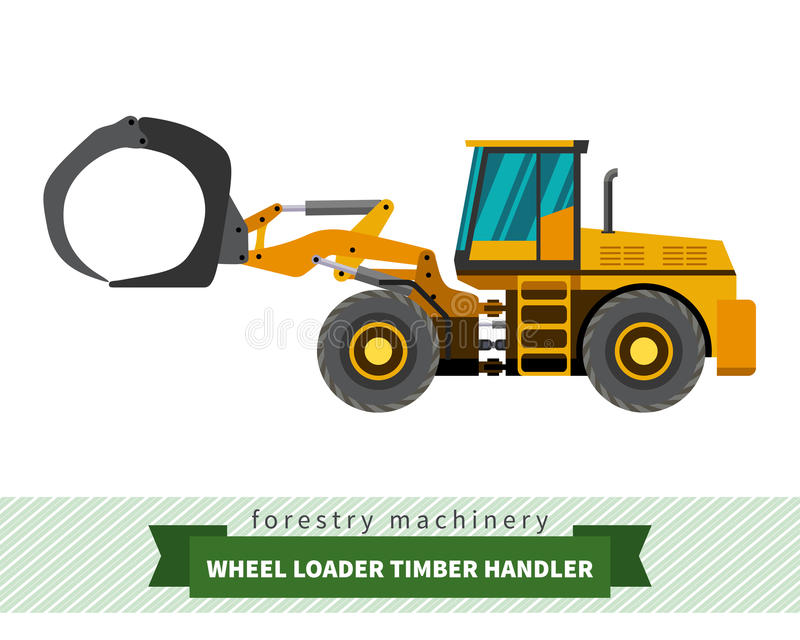 Timber handler vehicle. Timber handler forestry vehicle vector isolated illustration stock illustration