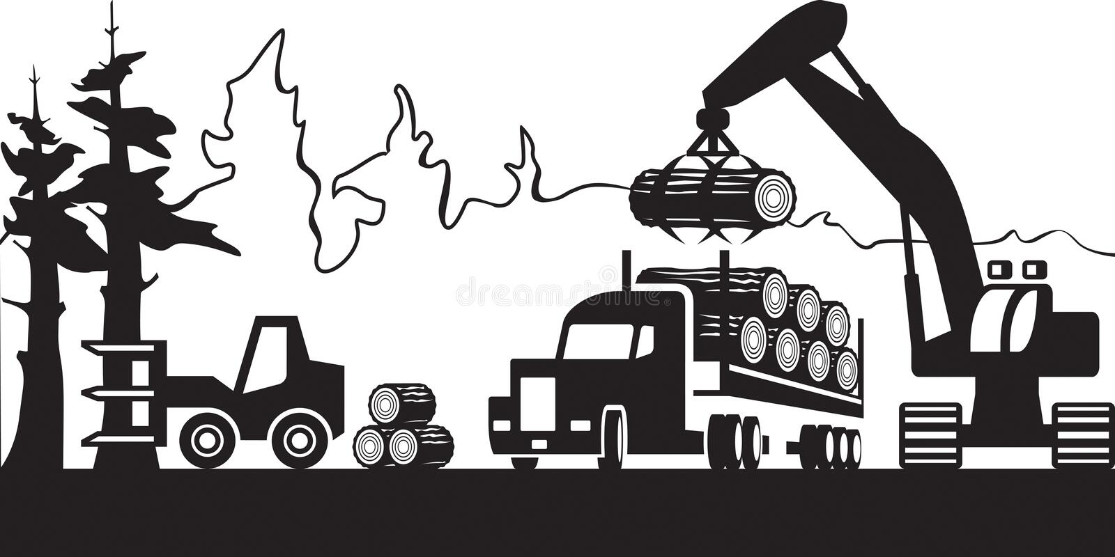 Timber harvesting in the forest. Vector illustration royalty free illustration
