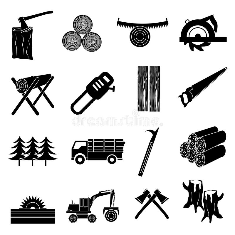 Timber icons set. In black royalty free illustration